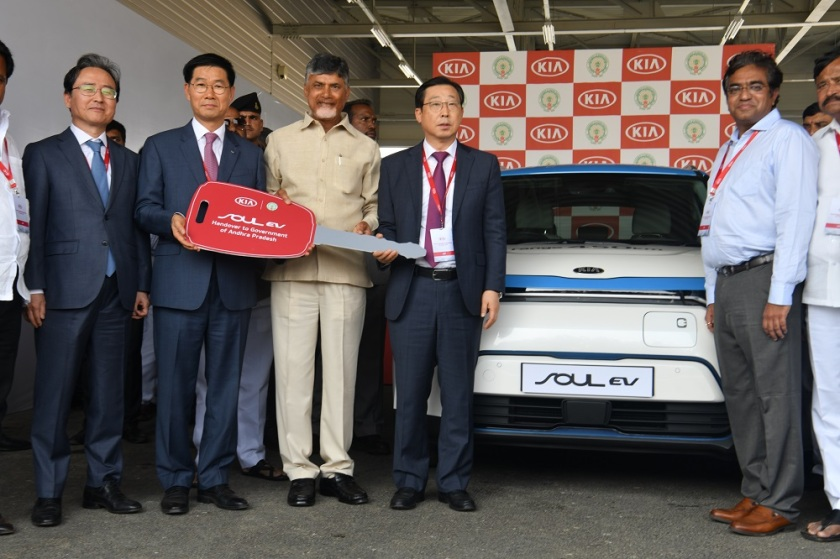 Kia Motors India hands over Kia Soul EV to the Andhra Pradesh Government.JPG